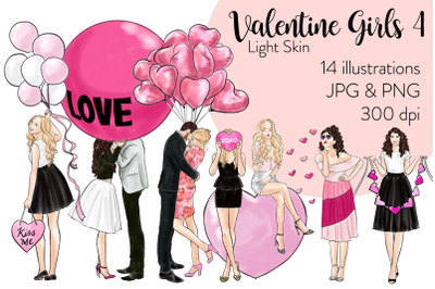 Watercolor Fashion Clipart - Valentine Girls 4 - Light Skin