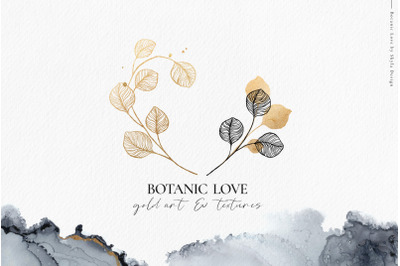 Botanic Love gold line art textures