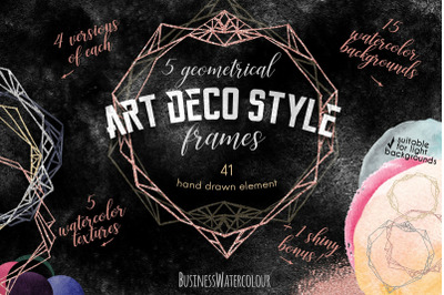 Art Deco Frames and Textures Set