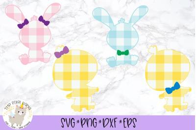 Plaid Bunny Chick Bundle Easter SVG