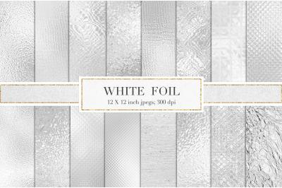 White metallic foil textures