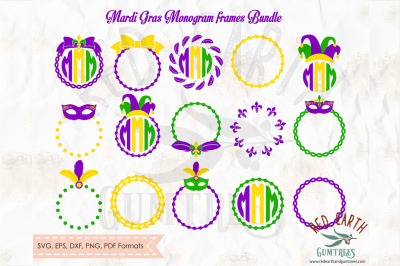 Mardi gras monogram frames bundle in SVG,DXF,PNG,EPS,PDF