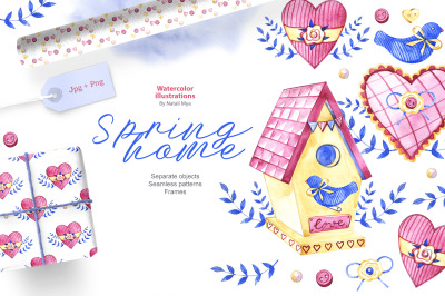 Watercolor spring home set