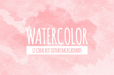 Coral Red Watercolor Texture Backgrounds