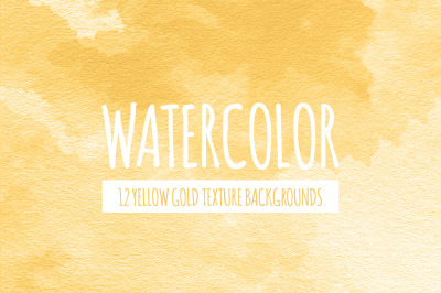 Yellow Gold Watercolor Texture Backgrounds