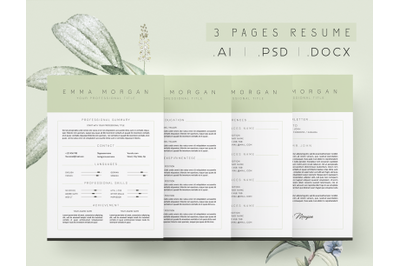 3 Page Dusty Green Resume Template / CV Template / FREE Coverletter M