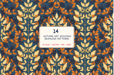 Art Nouveau Autumn Leaves Pattern