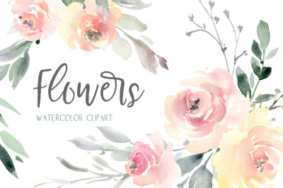 Watercolor Wedding Soft Flowers Roses Peonies PNG