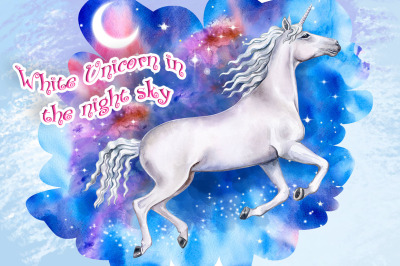 White Unicorn in the night sky