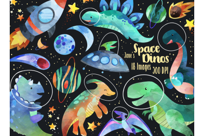 Watercolor Space Dinosaurs Clipart