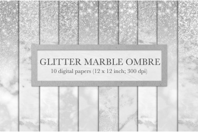 Silver glitter marble ombre textures