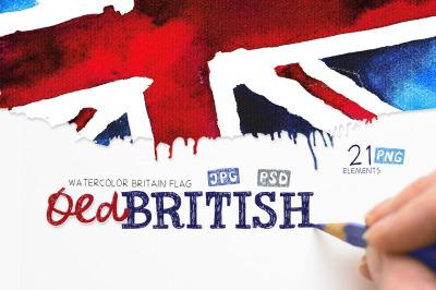 Old British. Watercolor britain flag. United Kingdom.