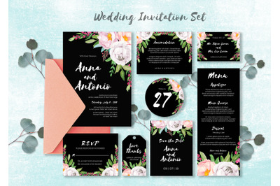 Watercolor Invitations Set