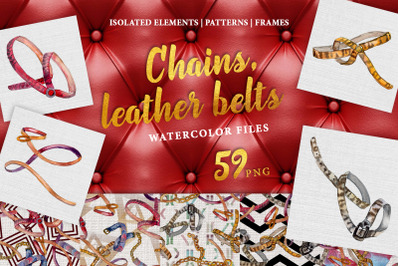 Chains, leather belts Watercolor png