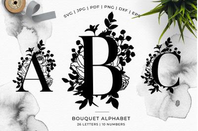 A-Z Bouquet Alphabet - SVG DXF PNG EPS JPG PDF Papercut Template