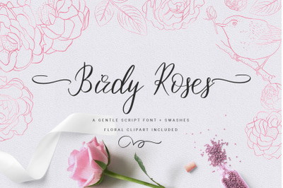 Birdy Roses | Script font + Swashes