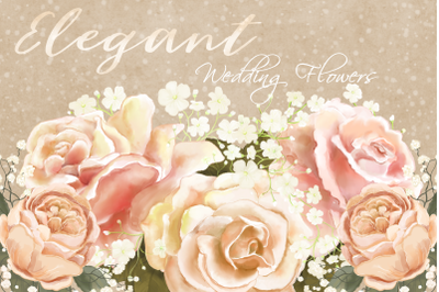 Elegant Wedding Flowers | PNG/JPEG | Clip Art Illustrations