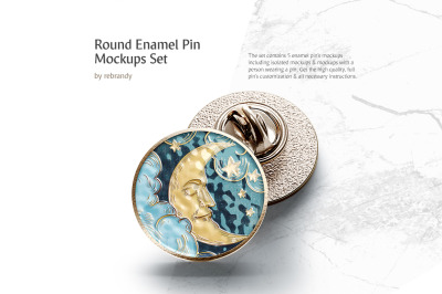Round Enamel Pin Mockups Set