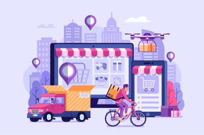 Online Delivery Service Illustration