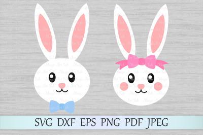 Easter bunny faces SVG, Bunny boy SVG, Bunny girl SVG