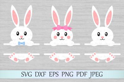 Bunny split monograms SVG, Easter monograms SVG, Bunny SVG