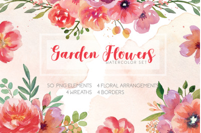 Garden Flowers Watercolor Set