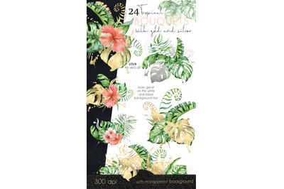 24 Tropical bouquets watercolor