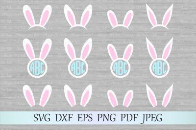 Bunny ears svg, Bunny monogram svg, Bunny svg
