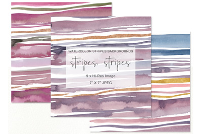 "Hand Painted Watercolor Stripes Background 7""x 7"""