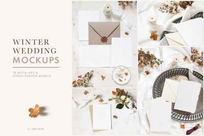 Winter wedding mockups & stock photo bundle
