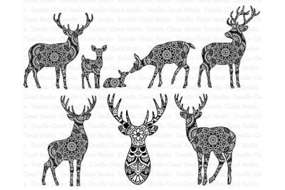 Deers Mandala SVG, Mama and Baby Deer SVG