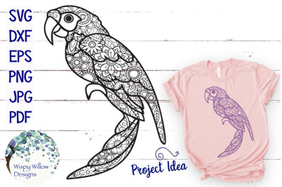 Floral Parrot Zentangle SVG