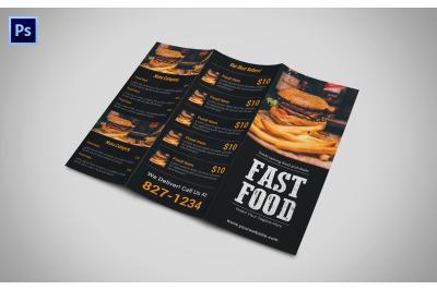 Trifold Fast Food Menu