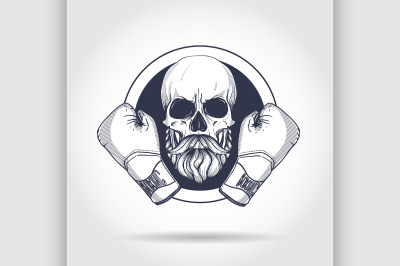 Hand drawn skull with boxing gloves