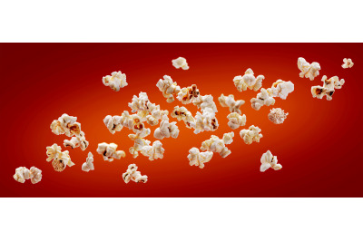 Popcorn isolated on red background