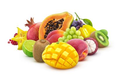 Heap of fresh exotic fruits isolated on white background