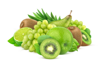 Green fruits  isolated on white background