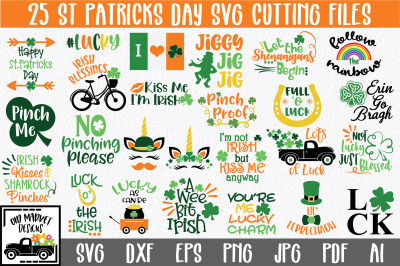 St. Patrick's Day SVG Bundle with 25 SVG Cut Files-DXF-EPS-PNG