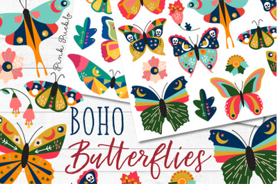 Boho Butterfly Clipart and Vectors