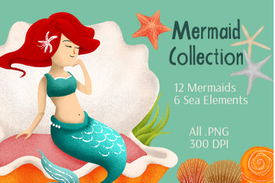 Hand Drawn Mermaid Collection