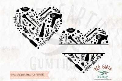 Glamour split monogram frame, makeup frame SVG, PNG, EPS, DXF, PDF