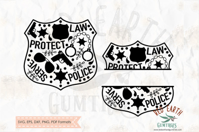 Police split monogram frame, Badge frame SVG, PNG, EPS, DXF, PDF