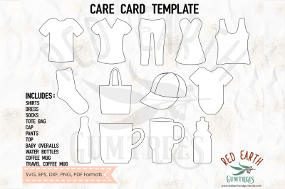 Care card templates bundle SVG, PNG, EPS, DXF, PDF