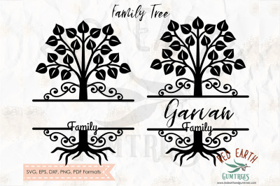 Family tree split monogram frame SVG, PNG, EPS, DXF, PDF
