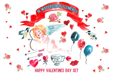 Valentine's day watercolor set