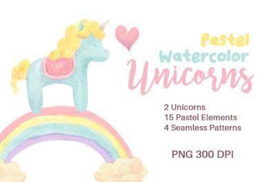 Pastel Watercolor Unicorns