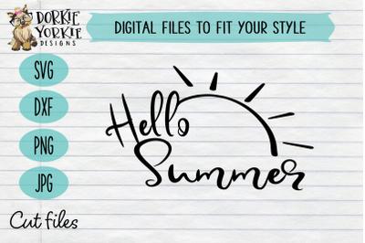 Hello Summer Script - Sun - Beach - Pool - SVG Cut File