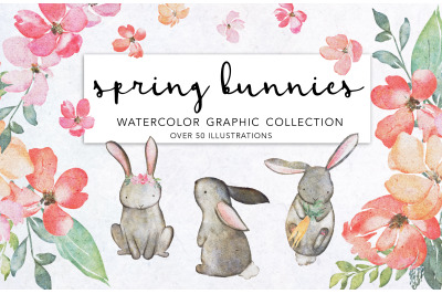 SPRING  BUNNIES AND FLORALS CLIPART SET FOR GRAPHIC DESIGN