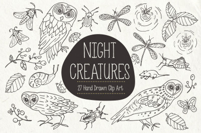 Night Creatures Clip Art & Vectors