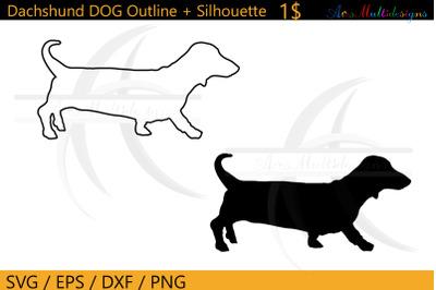 Dachshund Dog outline svg / Dachshund dog silhouette